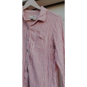 Pink and white striped buttons up blouse